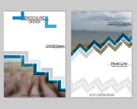 Brochure cover design. Vector brochure cover templates with blurred sea. EPS 10. Mesh background royalty free illustration