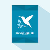 Brochure cover flat design with humming bird icon. Vector illustration Royalty Free Stock Photos