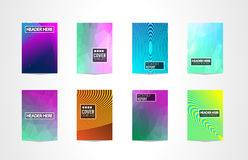 A4 Brochure Cover Mininal Design with Geometric shapes, colorful gradients and space for text, header, footer and titles. Futurist. Ic Page Template stock illustration