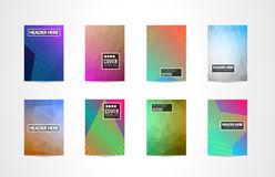 A4 Brochure Cover Mininal Design with Geometric shapes, colorful gradients and space for text. Header, footer and titles. Futuristic Page Template royalty free illustration