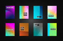 A4 Brochure Cover Mininal Design with Geometric shapes, colorful. Gradients and space for text, header, footer and titles. Futuristic Page Template vector illustration
