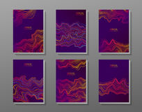 Brochure cover set with abstract waves. Stock Images