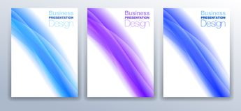 Brochure Cover Template Design in Blue and Purple Stock Images