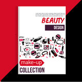 Brochure cover template for makeup artist, studio, business card, brochure and flyer. Stock Photos