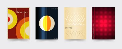 Brochure cover template set. Abstract geometric covers for magazine, printing products, flyer, presentation, brochures or booklet. Vector illustration Royalty Free Stock Photography