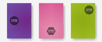 Brochure covers, posters, banners vector templates. Minimalist geometry. Halftone lines annual report templates. Elegant patchy mockups. Geometric graphic royalty free illustration