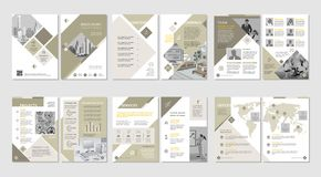 Brochure creative design. Multipurpose template with cover, back and inside pages. Vertical a4 format. Brochure creative design. Multipurpose template with royalty free illustration
