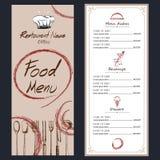 Brochure de café de menu de nourriture calibre de dessin Image libre de droits