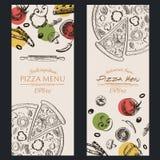 Brochure de café de menu de nourriture de pizza calibre de dessin Photos libres de droits