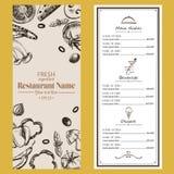 Brochure de café de restaurant de menu de nourriture rétro templa de dessin de conception Photo stock