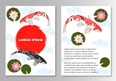 Brochure de calibre de style de Koi Asian de carpe illustration stock