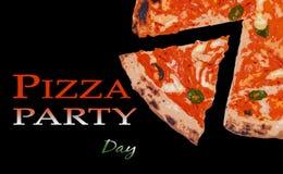 Brochure de jour de partie de pizza photos stock