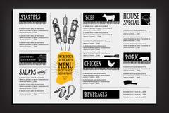 Brochure de restaurant de menu de café Calibre de conception de nourriture Image libre de droits