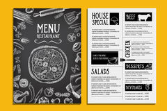 Brochure de restaurant de menu de café Calibre de conception de nourriture Photos libres de droits