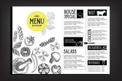Brochure de restaurant de menu de café Calibre de conception de nourriture Photographie stock libre de droits