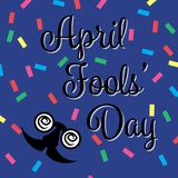 April Fools Day Banner, Happy Fools'day greeting card, black letter with jester glasses isolated on Blue background confetti. Pattern, Design element for stock illustration