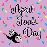 April Fools Day Banner, Happy Fools'day greeting card, black letter with jester glasses isolated on Pink background confetti. Pattern, Vector Illustration Vector Illustration