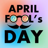 April Fools Day Banner, Happy Fools'day greeting card, Black letter with Jester's Glasses isolated on Colorful Gradient. Background, Vector Royalty Free Illustration