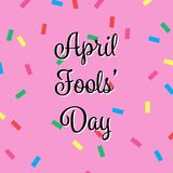 April Fools Day Banner, Happy Fools'day greeting card, black letter isolated on Pink background confetti Pattern. Vector illustration stock illustration