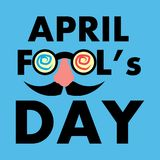 April Fools Day Banner, Happy Fools'day greeting card, Black letter with Jester's Glasses isolated on Blue background. Vector Illustration stock illustration