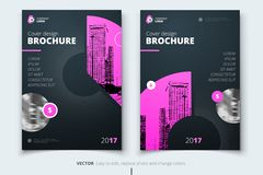 Brochure design. Corporate business report cover, brochure or fl. Yer design. Leaflet presentation. Flyer with abstract circle, round shapes background. Modern stock illustration