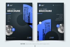 Brochure design. Corporate business report cover, brochure or fl. Yer design. Leaflet presentation. Flyer with abstract circle, round shapes background. Modern Royalty Free Stock Image