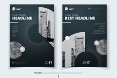 Brochure design. Corporate business report cover, brochure or fl. Yer design. Leaflet presentation. Flyer with abstract circle, round shapes background. Modern Stock Images