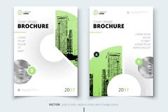 Brochure design. Corporate business report cover, brochure or fl. Yer design. Leaflet presentation. Flyer with abstract circle, round shapes background. Modern Stock Photography
