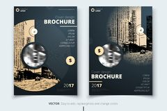Brochure design. Corporate business report cover, brochure or flyer design. Leaflet presentation. Flyer with abstract. Circle, round shapes background. Modern stock illustration
