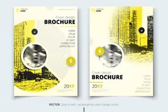 Brochure design. Corporate business report cover, brochure or flyer design. Leaflet presentation. Flyer with abstract. Circle, round shapes background. Modern royalty free illustration