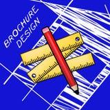 Brochure Design Means Designing Flyer 3d Illustration. Brochure Design Equipment Means Designing Flyer 3d Illustration Royalty Free Stock Photo