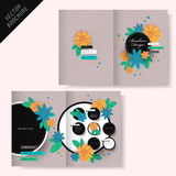 Brochure design with flower and stripe Stock Images