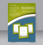 Brochure design. Flyer template. Editable A4 poster. For business, education, presentation, website, magazine cover. Blue and green color Royalty Free Stock Photo