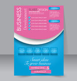 Brochure design. Flyer template. Editable A4 poster. For business, education, presentation, website, magazine cover. Pink and blue color Royalty Free Stock Photo