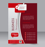 Brochure design. Flyer template. Editable A4 poster. For business, education, presentation, website, magazine cover. Red color Stock Photos