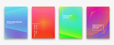 Brochure design with halftone dots and neon gradients Royalty Free Stock Photo