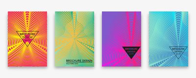 Brochure design with halftone wave lines and neon gradients. Vector illustration stock illustration