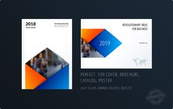 Brochure design rectangular template. Colourful modern abstract set, annual report with material design for branding. Brochure material design style template Stock Photography