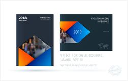 Brochure design rectangular template. Colourful modern abstract set, annual report with material design for branding. Brochure material design style template Stock Photo