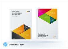 Brochure design rectangular template. Colourful modern abstract set, annual report with material design for branding. Brochure material design style template Stock Images