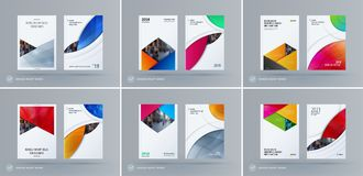 Brochure design rectangular template. Colourful modern abstract set, annual report with material design for branding. Brochure material design style template Royalty Free Stock Images