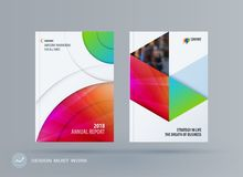 Brochure design round template. Colourful modern abstract set, annual report with circle for branding. Brochure design smooth round template. Creative abstract Stock Photo