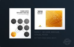 Brochure design round template. Colourful modern abstract set, annual report with circles rings for branding. Brochure design smooth round template. Creative Royalty Free Illustration