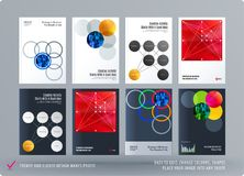 Brochure design round template. Colourful modern abstract set, annual report with circles rings for branding. Brochure design smooth round template. Creative Vector Illustration