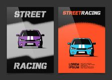 Brochure design with street racing car icon Royalty Free Stock Photos