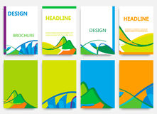 Brochure design in summer style. Set of brochures in colors of Brazil flag. Three color concept. Can be used in cover design, book design, website background Stock Illustration