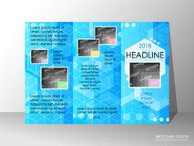 Brochure design template, business broadsheet concept, background. Brochure design template, business broadsheet concept, standard tri-fold A4 size, on grey Stock Images