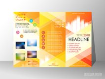Brochure design template, business broadsheet concept, background. Brochure design template, business broadsheet concept, standard tri-fold A4 size, on grey Stock Photos