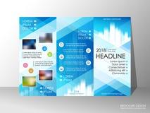 Brochure design template, business broadsheet concept, background. Brochure design template, business broadsheet concept, standard tri-fold A4 size, on grey Stock Photo