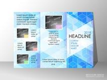 Brochure design template, business broadsheet concept, background. Brochure design template, business broadsheet concept, standard tri-fold A4 size, on grey Stock Image